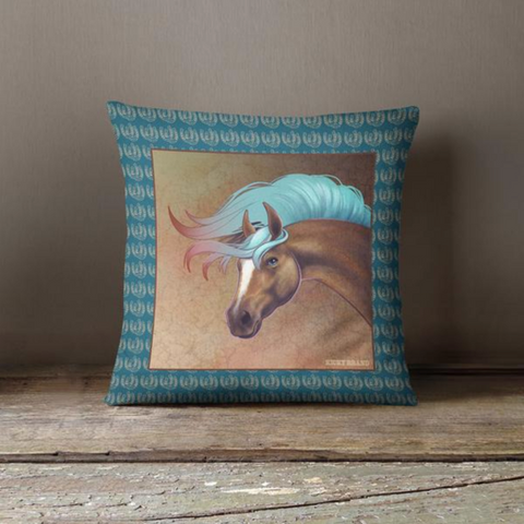 Salt Creek Horse Throw Pillow - Deep Aqua