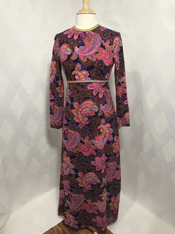 Vintage 1970s L'aiglon Psychedelic Navy and Pink Paisly Print Knit Maxi Dress  Size 8