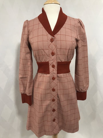 1970s Particia Fair Button Front Coat Dress
