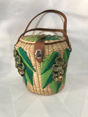 Vintage 1960s Straw Flower Basket Purse