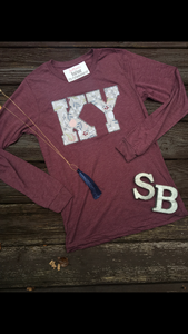 Grey Floral Soft Long Sleeve T - The Monogram Shoppe KY