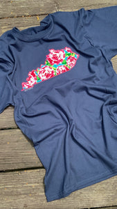 Navy Floral Short Sleeve KY - The Monogram Shoppe KY