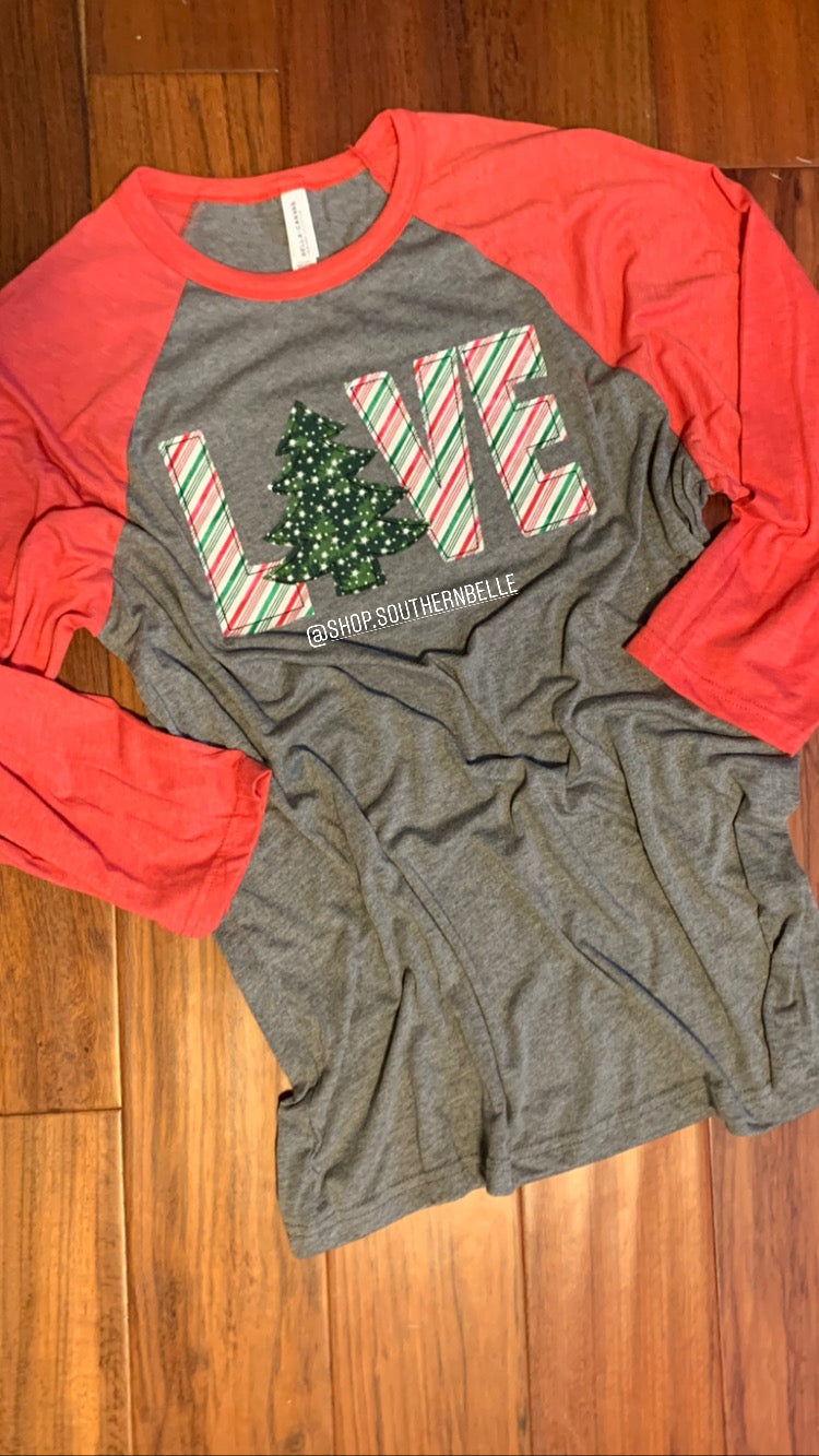 Raggy Christmas Tree Raglan - The Monogram Shoppe KY