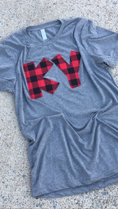 Kentucky Buffalo Plaid Triblend Soft T - The Monogram Shoppe KY