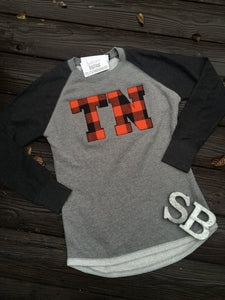 Buffalo Plaid Tennessee Hi Low Ladies Terry Top - The Monogram Shoppe KY
