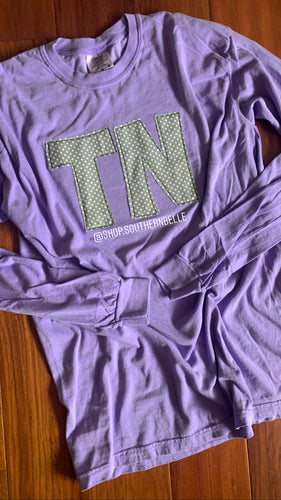 Violet Comfort Color Long Sleeve  T - The Monogram Shoppe KY