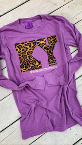 Leopard Comfort Color Soft Long Sleeve T -- ANY STATE