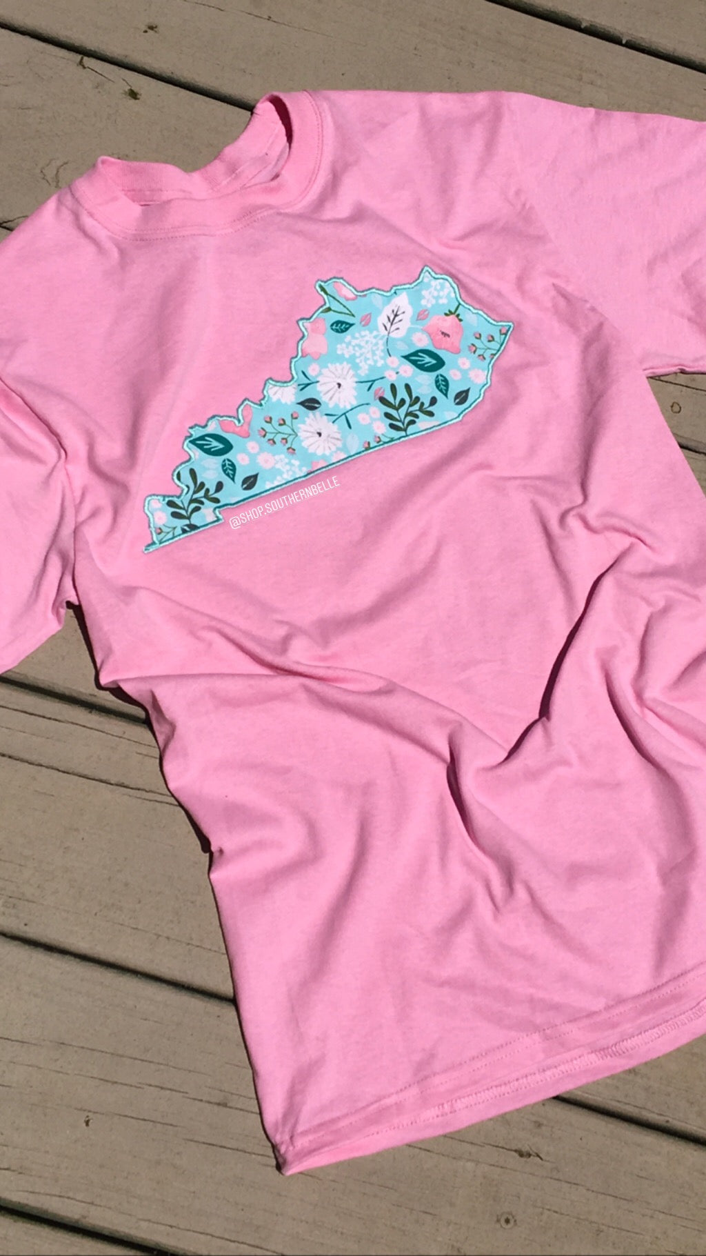 Light Blue Floral KY Short Sleeve T - The Monogram Shoppe KY