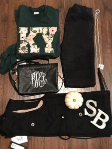 Hunter Green Floral Long Sleeve - The Monogram Shoppe KY