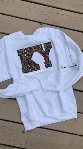 Leopard KY White Sweatshirt - The Monogram Shoppe KY