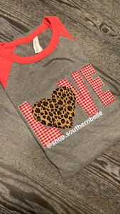 Love Valentines Day Heart Raglan - The Monogram Shoppe KY