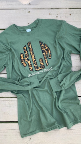Leopard Monogram Long Sleeve - The Monogram Shoppe KY
