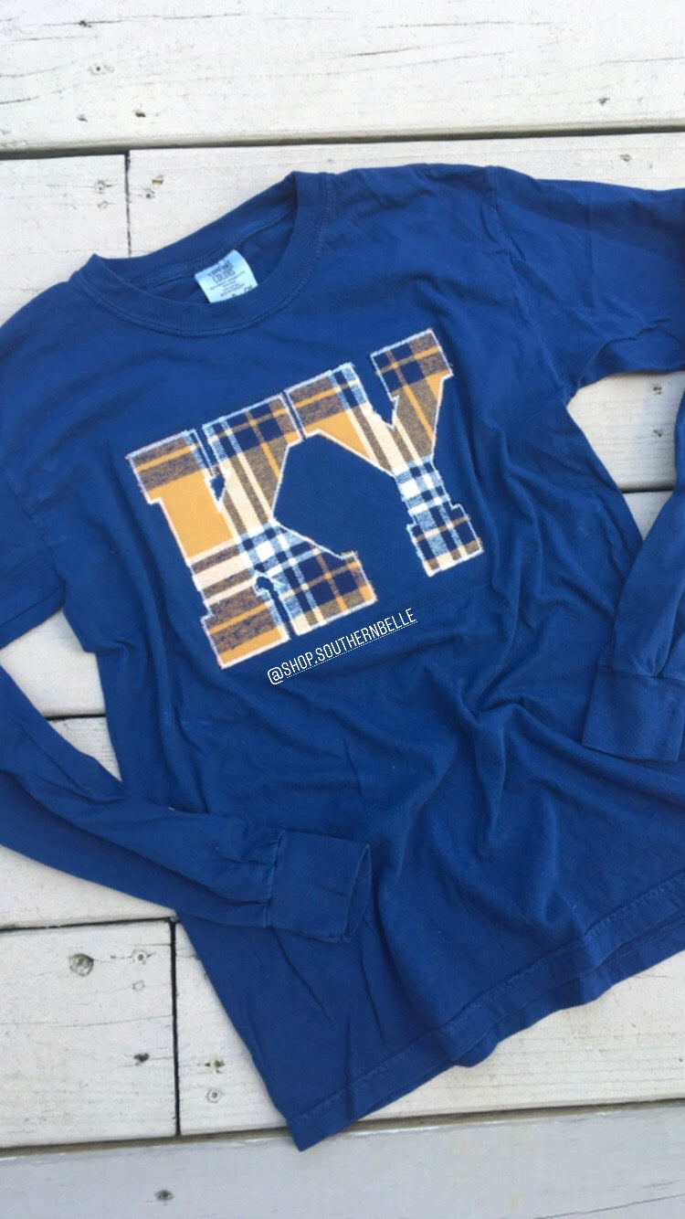 Kentucky Plaid Comfort Color Long Sleeve  T - The Monogram Shoppe KY