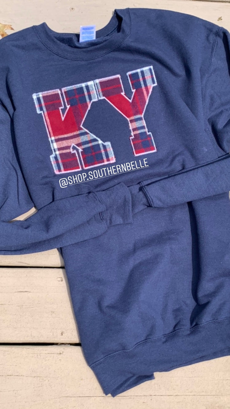 Navy Plaid Long Sleeve KY - The Monogram Shoppe KY