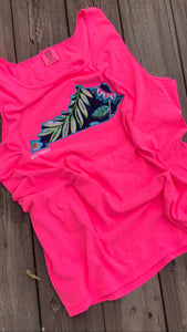 Comfort Color Neon Pink Floral KY Tank - The Monogram Shoppe KY