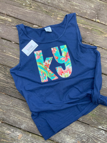 Comfort Color Navy Floral KY Tank - The Monogram Shoppe KY