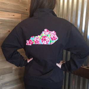 Raggy Floral Quarter Zip Any State - The Monogram Shoppe KY