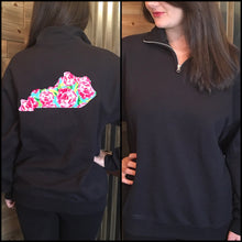 Load image into Gallery viewer, Raggy Floral Quarter Zip Any State - The Monogram Shoppe KY