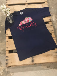 Floral Kentucky T Comfort Color - The Monogram Shoppe KY