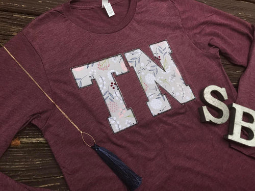 Tennessee Grey Fall Floral Long Sleeve T