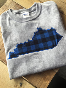 Kentucky Long Sleeve Buffalo Plaid Tshirt - The Monogram Shoppe KY