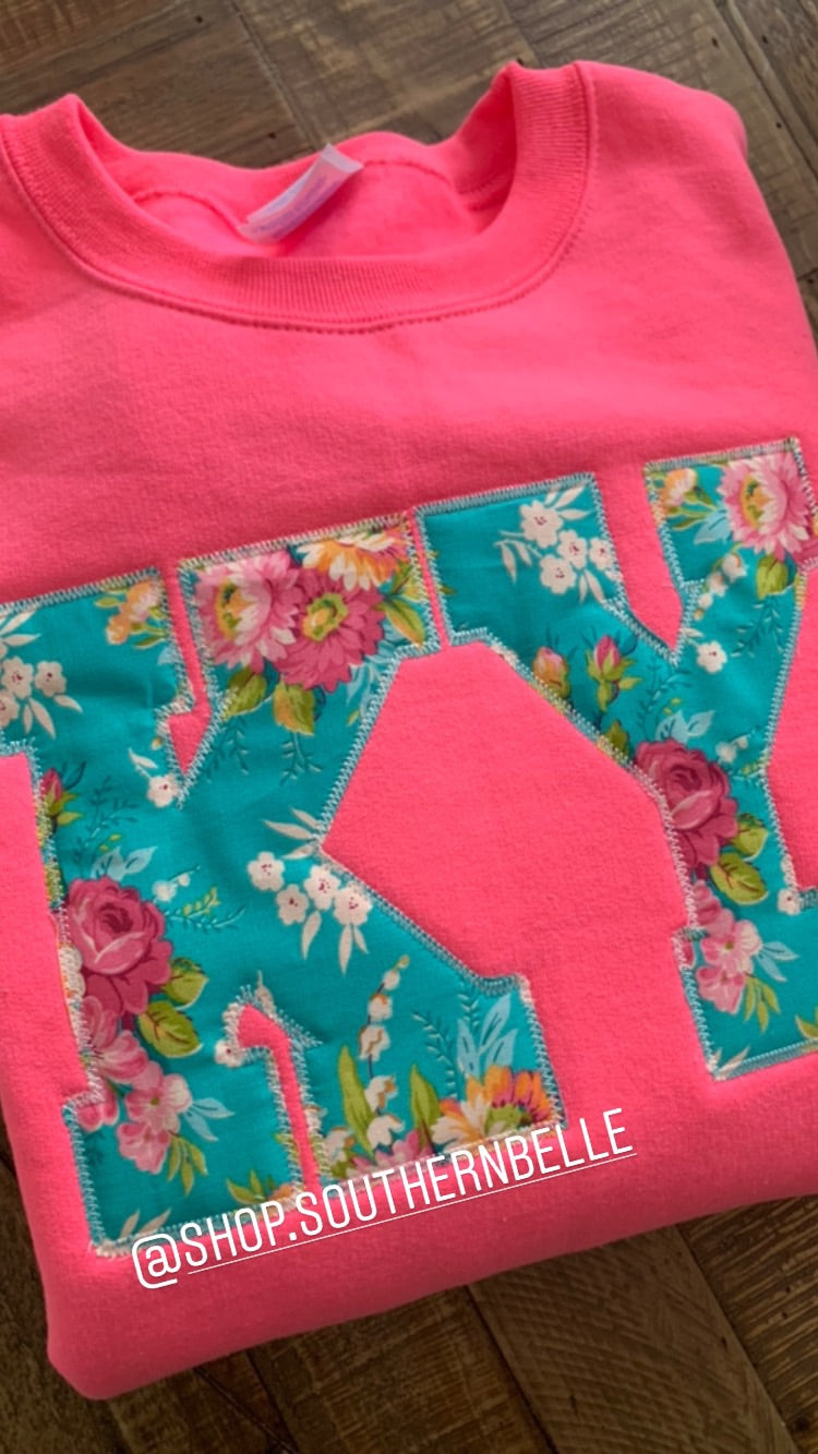 Neon Pink Floral KY Sweatshirt - The Monogram Shoppe KY