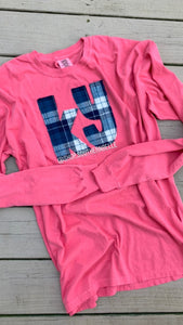 Berry Kentucky Plaid Comfort Color Long Sleeve  T - The Monogram Shoppe KY