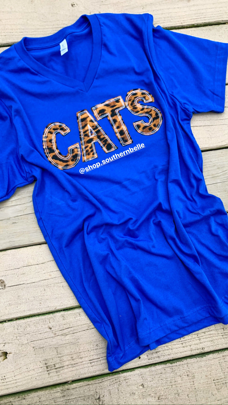 Cats Soft Short Sleeve Vneck - The Monogram Shoppe KY