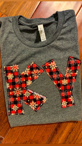 RTS KY Snowflake Buffalo Plaid Soft Short Sleeve T