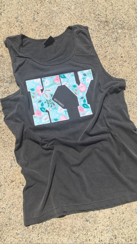 Pepper Comfort Color Floral KY Tank - The Monogram Shoppe KY