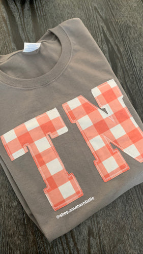 TN Coral Plaid Short Sleeve - The Monogram Shoppe KY
