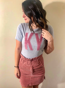 Rose Corduroy Short Sleeve Soft T -- ANY STATE