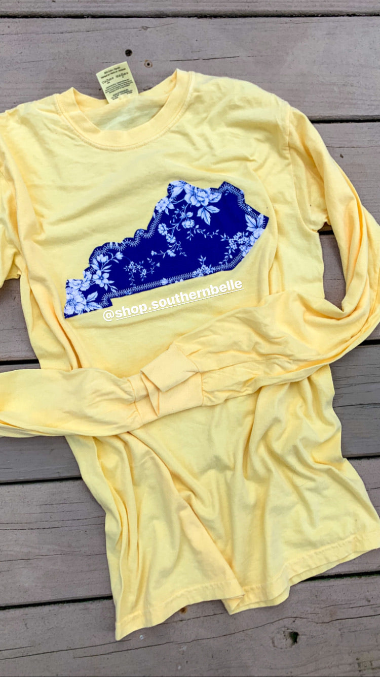 Navy KY Floral CC Long Sleeve  T