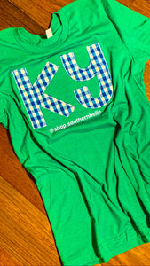 KY Blue Plaid Short Sleeve Soft T - The Monogram Shoppe KY