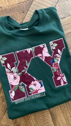 Maroon Floral Long Sleeve -- ANY STATE