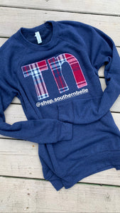 TN Navy Plaid Soft Sweatshirt