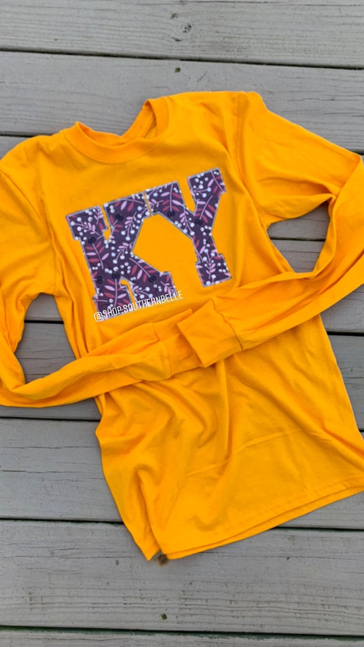 Mustard Floral Long Sleeve - The Monogram Shoppe KY
