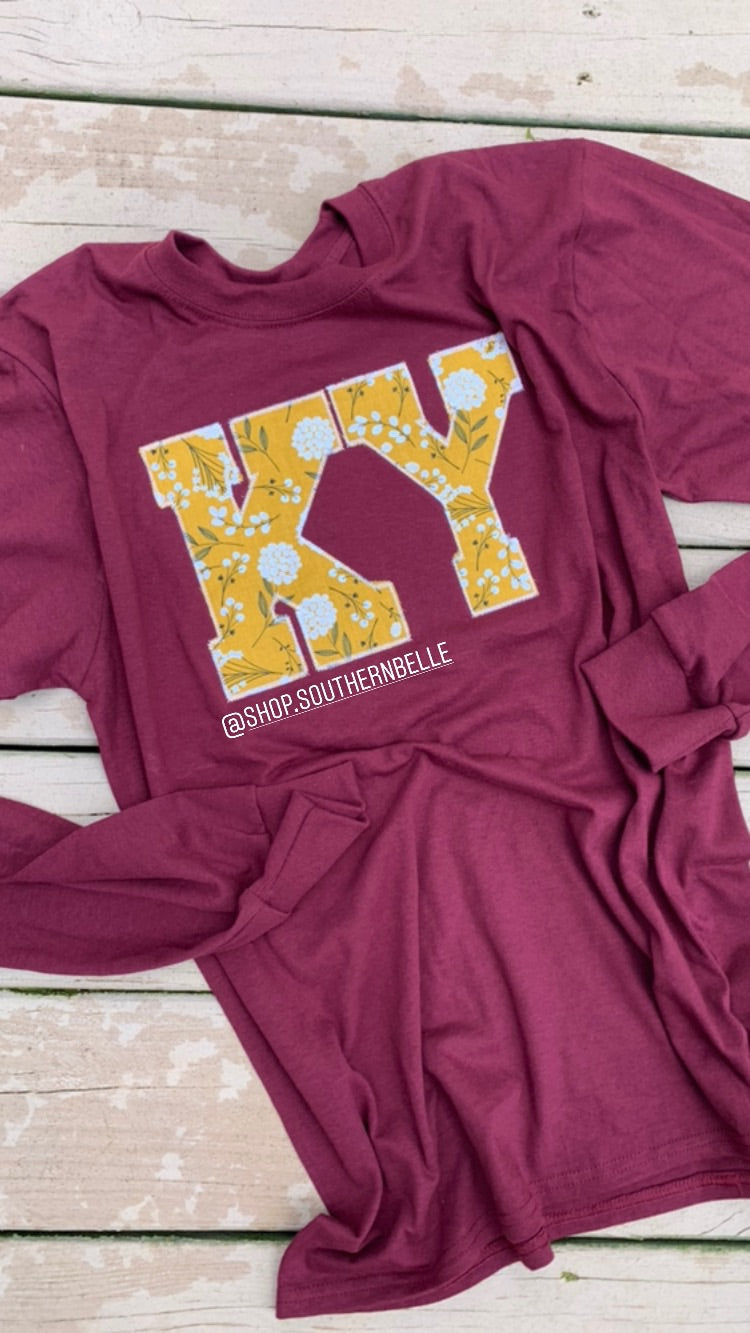 Maroon Floral Long Sleeve - The Monogram Shoppe KY