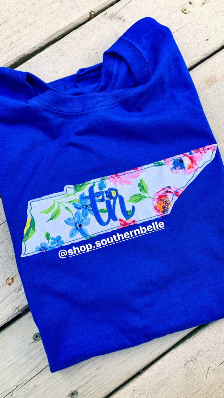 SALE Blue Floral TN Short Sleeve T
