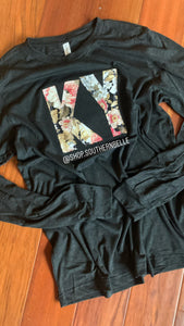 Fall Floral Dark Gray Soft Long Sleeve T - The Monogram Shoppe KY