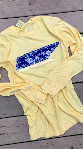 TN Navy Floral CC Long Sleeve  T