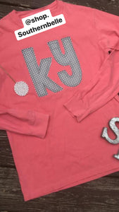 Watermelon Kentucky Grey Polka Dot Comfort Color Long Sleeve  T - The Monogram Shoppe KY