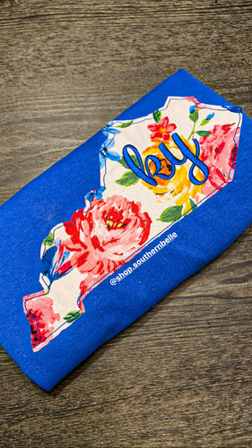 Blue Floral Kentucky Sweatshirt - The Monogram Shoppe KY