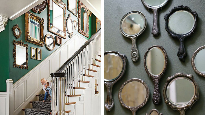 Antique mirrors with green background and grey background