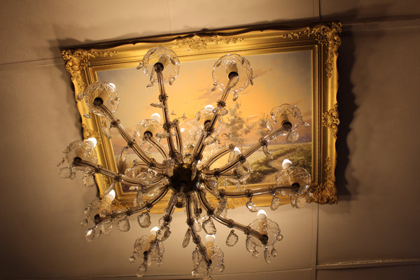 repurposed antique chandelier and painting ski country