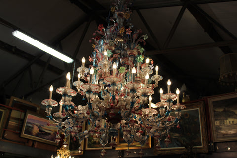 european antique colorful glass chandelier ski country