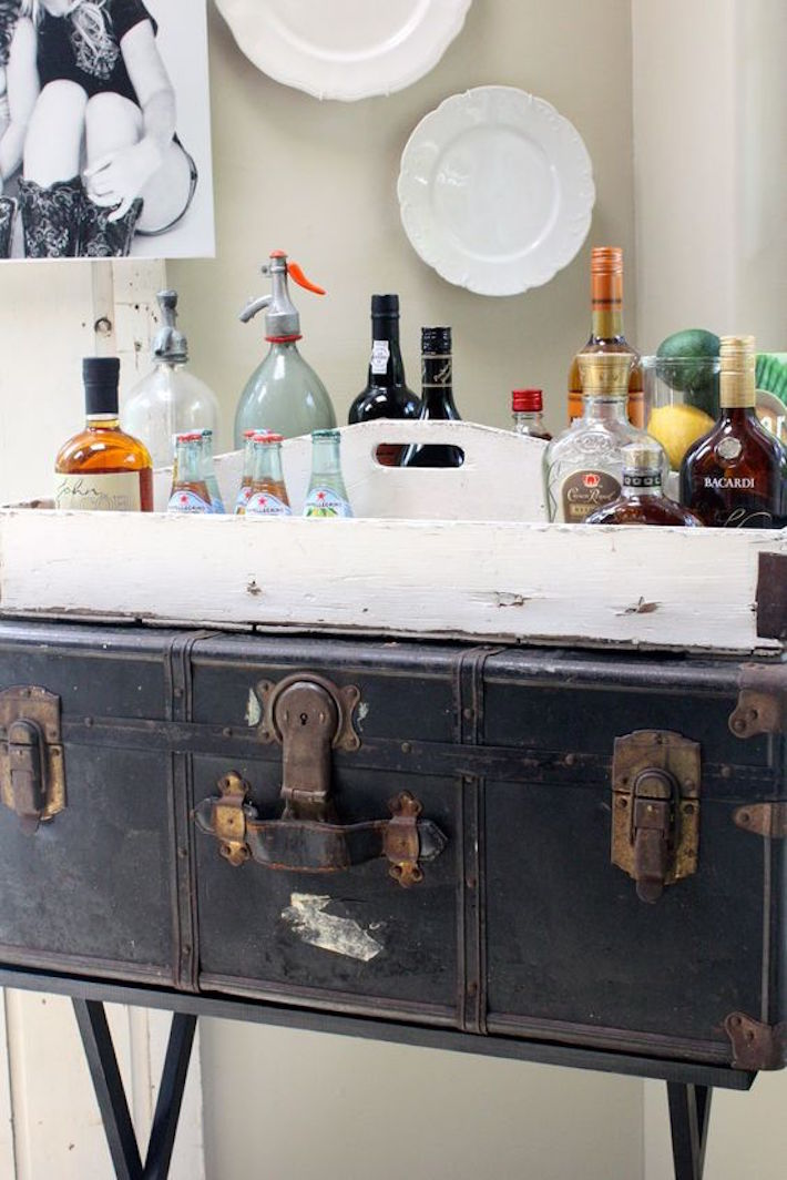 Vintage Trunk Bar Cart