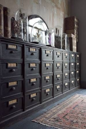 Industrial filing cabinet repurposed for living room