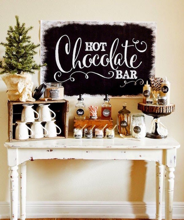 cabin decor - hot chocolate bar