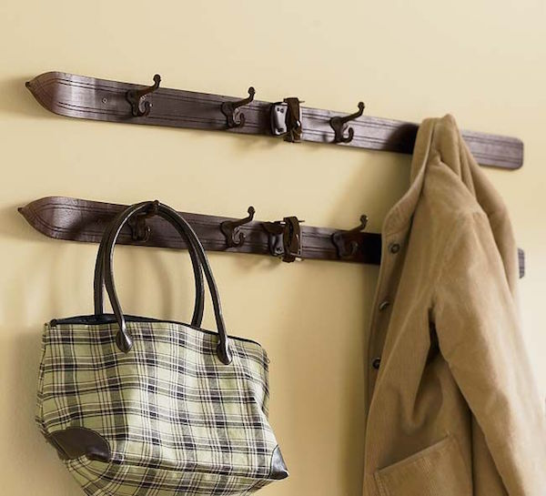 vintage skis - coat rack